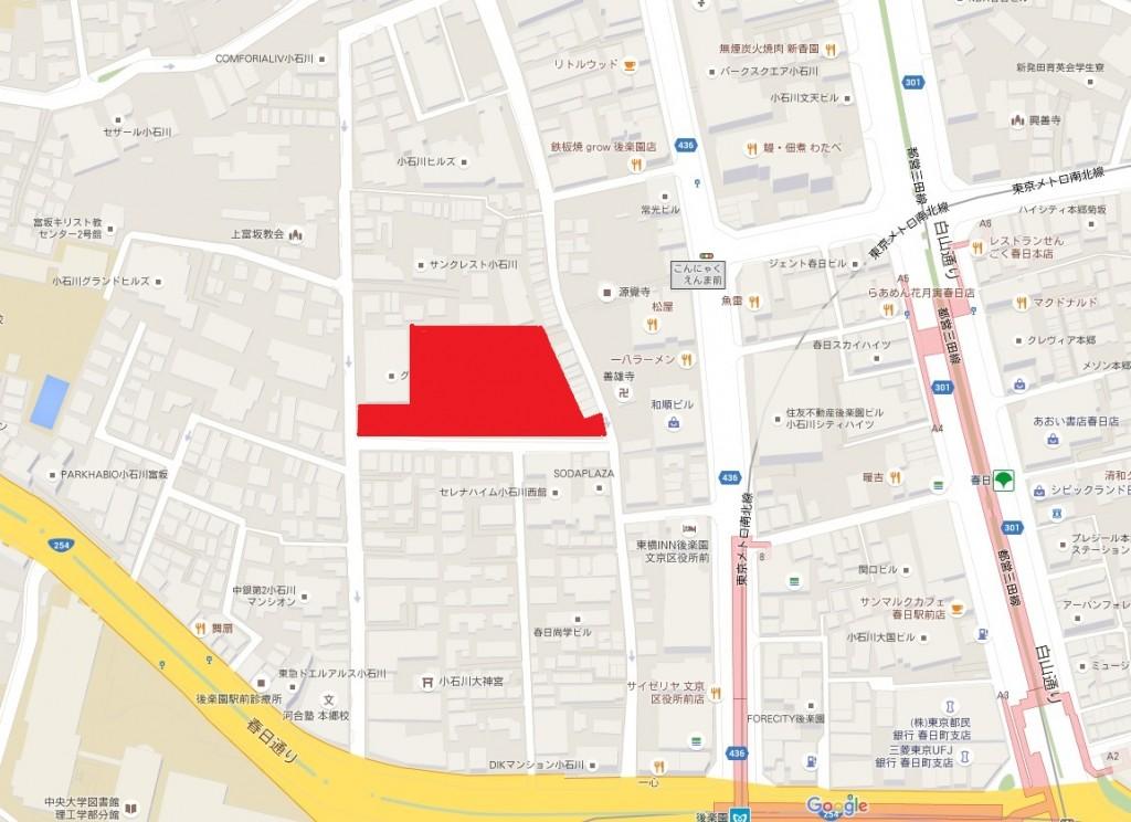 ル・サンク小石川後楽園(赤)周辺地図